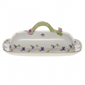 "Blue Garland BUTTER DISH W/BRANCH  8.5""L"