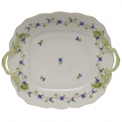 Blue Garland SQUARE CAKE PLATE W/HANDLES  9