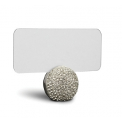 Pave Sphere Place Card Holders - Platinum + White Crystals / Set 6
