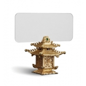 Pagoda Place Card Holders - Gold + Green Jade Stones / Set 6