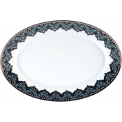 Dhara Peacock Oval Dish ( Platter)- 15.7""
