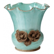 Rustic Garden Aqua Scalloped Planter with Flowers