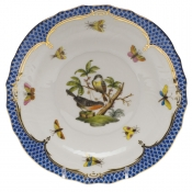 "Rothschild Bird Blue Border SALAD PLATE - MOTIF 02 7.5""D"