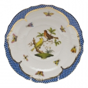 "Rothschild Bird Blue Border SALAD PLATE - MOTIF 06 7.5""D"