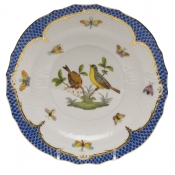"Rothschild Bird Blue Border SALAD PLATE - MOTIF 07 7.5""D"