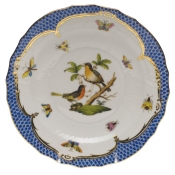 "Rothschild Bird Blue Border SALAD PLATE - MOTIF 08 7.5""D"