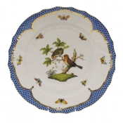 "Rothschild Bird Blue Border DINNER PLATE - MOTIF 10 10.5""D"