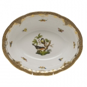 "Rothschild Bird Brown Border OVAL VEG DISH 10""L X 8""W"