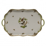 Rothschild Bird Brown Border REC TRAY W/BRANCH HANDLES  18""
