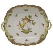 Rothschild Bird Brown Border SQUARE CAKE PLATE W/HANDLES  9
