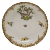 "Rothschild Bird Brown Border MOCHA SAUCER  5.5""D"