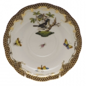 "Rothschild Bird Brown Border TEA SAUCER - MOTIF 01 6""D"