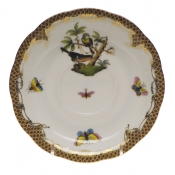 "Rothschild Bird Brown Border TEA SAUCER - MOTIF 02 6""D"