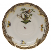 "Rothschild Bird Brown Border TEA SAUCER - MOTIF 03 6""D"