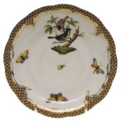 "Rothschild Bird Brown Border TEA SAUCER - MOTIF 04 6""D"