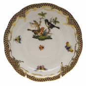 "Rothschild Bird Brown Border TEA SAUCER - MOTIF 05 6""D"
