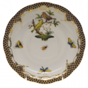 "Rothschild Bird Brown Border TEA SAUCER - MOTIF 06 6""D"