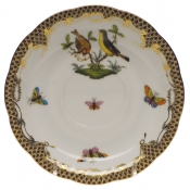 "Rothschild Bird Brown Border TEA SAUCER - MOTIF 07 6""D"