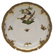"Rothschild Bird Brown Border TEA SAUCER - MOTIF 08 6""D"