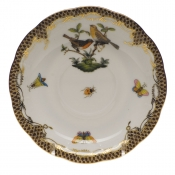 "Rothschild Bird Brown Border TEA SAUCER - MOTIF 09 6""D"