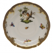 "Rothschild Bird Brown Border TEA SAUCER - MOTIF 10 6""D"
