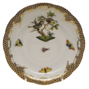 "Rothschild Bird Brown Border TEA SAUCER - MOTIF 11 6""D"