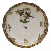 "Rothschild Bird Brown Border TEA SAUCER - MOTIF 12 6""D"