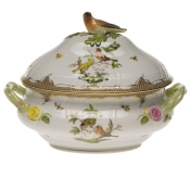 "Rothschild Bird Brown Border TUREEN W/BIRD  (4 QT) 10""H"