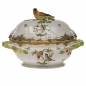 "Rothschild Bird Brown Border TUREEN W/BIRD (2 QT) 9.5""H"