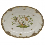 "Rothschild Bird Brown Border PLATTER  17""L X 12.5""W"