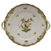 "Rothschild Bird Brown Border CHOP PLATE W/HANDLES  12""D"