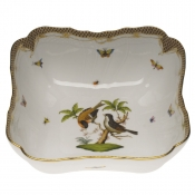 "Rothschild Bird Brown Border SQUARE SALAD BOWL 10""SQ"