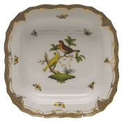 "Rothschild Bird Brown Border SQUARE FRUIT DISH  11""SQ"