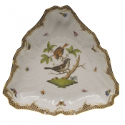 "Rothschild Bird Brown Border TRIANGLE DISH 9.5""L"