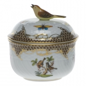 "Rothschild Bird Brown Border COV SUGAR W/BIRD  (6 OZ) 4""H"