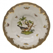 "Rothschild Bird Brown Border RIM SOUP - MOTIF 02 9.5""D"