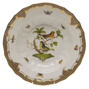 "Rothschild Bird Brown Border RIM SOUP - MOTIF 03 9.5""D"