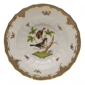 "Rothschild Bird Brown Border RIM SOUP - MOTIF 04 9.5""D"