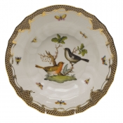 "Rothschild Bird Brown Border RIM SOUP - MOTIF 05 9.5""D"