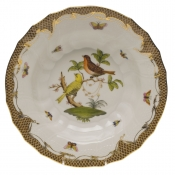 "Rothschild Bird Brown Border RIM SOUP - MOTIF 06 9.5""D"