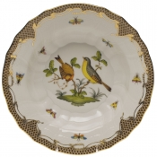 "Rothschild Bird Brown Border RIM SOUP - MOTIF 07 9.5""D"