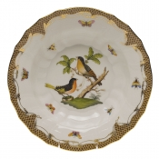 "Rothschild Bird Brown Border RIM SOUP - MOTIF 08 9.5""D"