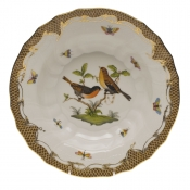 "Rothschild Bird Brown Border RIM SOUP - MOTIF 09 9.5""D"