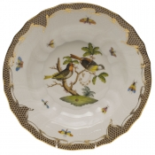 "Rothschild Bird Brown Border RIM SOUP - MOTIF 11 9.5""D"