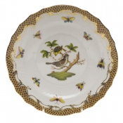 "Rothschild Bird Brown Border SALAD PLATE - MOTIF 01 7.5""D"
