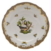 "Rothschild Bird Brown Border SALAD PLATE - MOTIF 02 7.5""D"