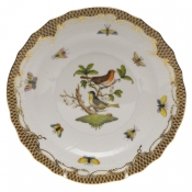 "Rothschild Bird Brown Border SALAD PLATE - MOTIF 03 7.5""D"