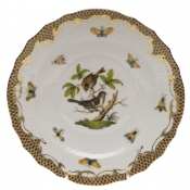 "Rothschild Bird Brown Border SALAD PLATE - MOTIF 04 7.5""D"