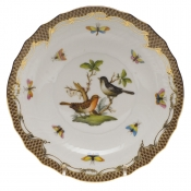 "Rothschild Bird Brown Border SALAD PLATE - MOTIF 05 7.5""D"