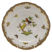 "Rothschild Bird Brown Border SALAD PLATE - MOTIF 06 7.5""D"